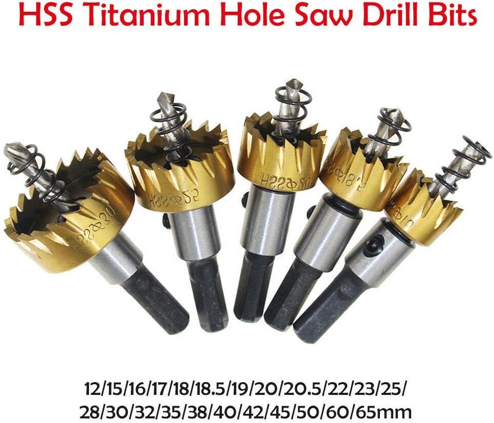 Juego de brocas para sierra de corona de acero inoxidable de 12 a 65 mm HSS de titanio fibra de vidrio lat/ón aluminio herramientas para cortar acero hierro acero inoxidable cobre