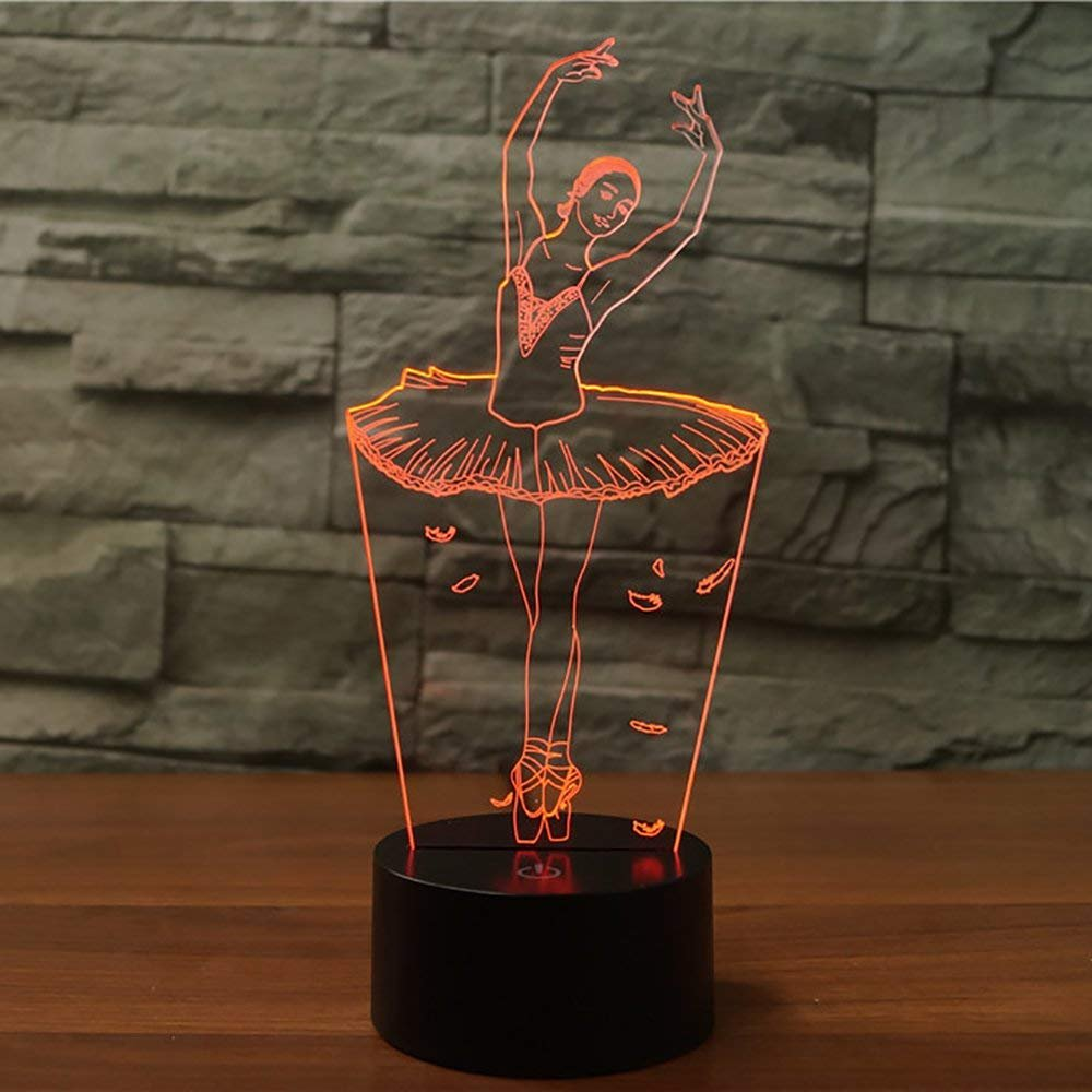 Ballet Dancing Girl 3D Illusion Night Light Lamps 7 Colors Gradual Changing Touch Lamp,Best for Kiddie Kids Holiday Gifts or Home Office Decoration