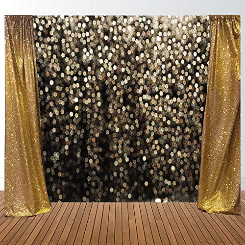 Allenjoy 7x5ft Gold Bokeh Spots Backdrop for Selfie Birthday Party Pictures Photo Booth Shoot Graduation Prom Dance Decor Wedding Vintage Astract Glitter Dot Studio Props Photography Background by Allenjoy (Image #5)