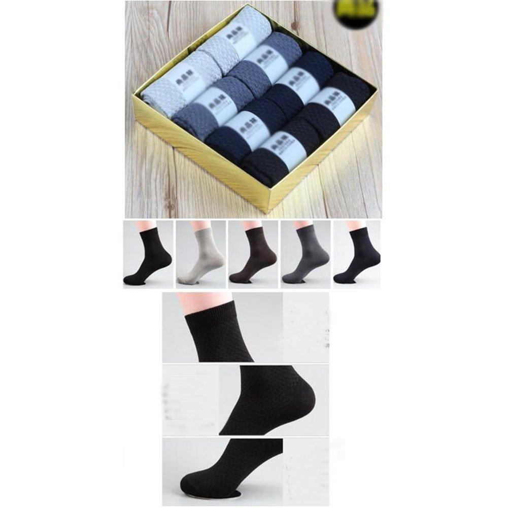 George Jimmy 8 Pairs Men Socks Bamboo Fiber Soft Anti-Sweat Antibacterial Fall Winter Socks Decent Gift-A01