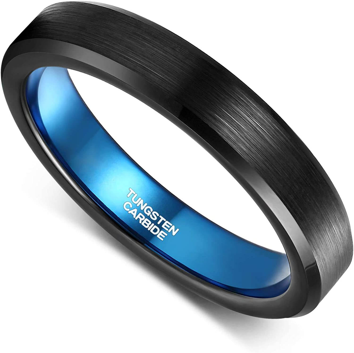 Promise Ring for him 8MM Tennis Engraved Tungsten Ring Free Engraving Beveled Silver Brush Center Black Inside Tungsten Wedding Band