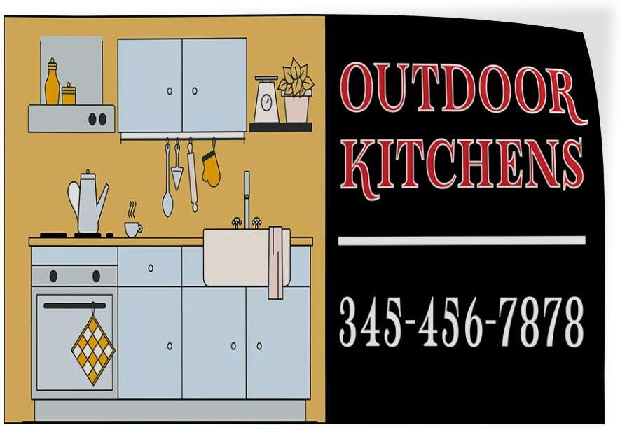 Custom Door Decals Vinyl Stickers Multiple Sizes Outdoor Kitchens Phone Number Retail Outdoor Kitchens Outdoor Luggage /& Bumper Stickers for Cars Black 45X30Inches Set of 5