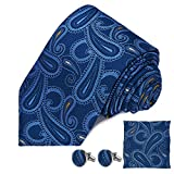 DEVPSISR Woven Paisley Tie Pocket Square Cufflinks Men Neckties Suit Accessories Formal set For Men(Blue)
