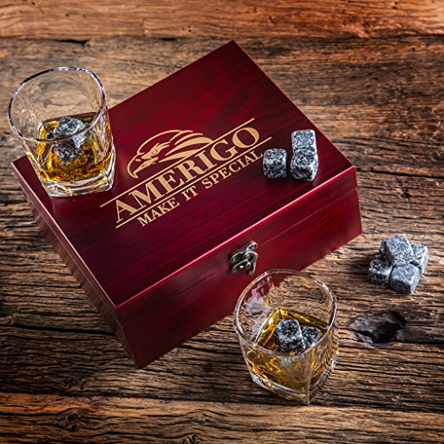 Impressive Whiskey Stones Gift Set with 2 Glasses - Be Different When Choosing a Gift - Luxury Handmade Box with 8 Granite Whiskey Rocks, Ice Tongs & Velvet Bag - Ice Cubes Reusable - Best Man Gift by Amerigo (Image #8)