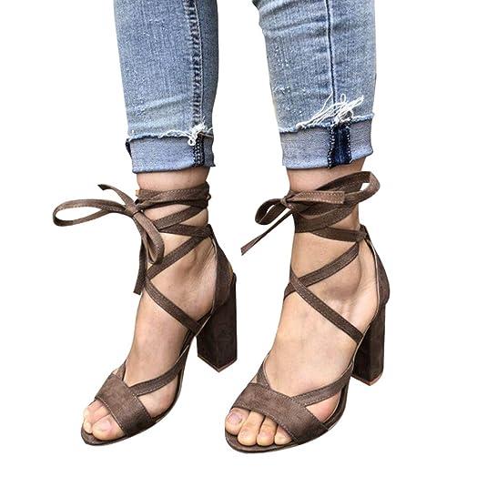 12ebbaaf30dd Juleya Damen Riemchen Sandaletten Absatz Sandalen 10cm High Heels Schuhe  Frauen Offener Sandalen Blocksatz Schuhe... - goettingen-versicherung.de