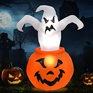 BENERAY Halloween Inflatable Ghost in Pumpkin 6ft, Airblown Inflatable Halloween Blow up Decorations for Holiday Indoor Outdoor Yard Garden Lawn
