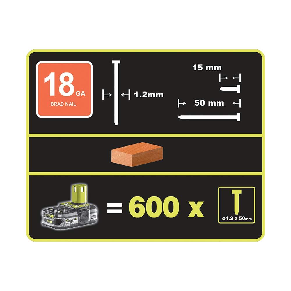 18 voltios Clavadora de alta presi/ón + Ryobi One Plus RB18L50 5,0 Ah bater/ía de litio Ryobi R18N18G-0