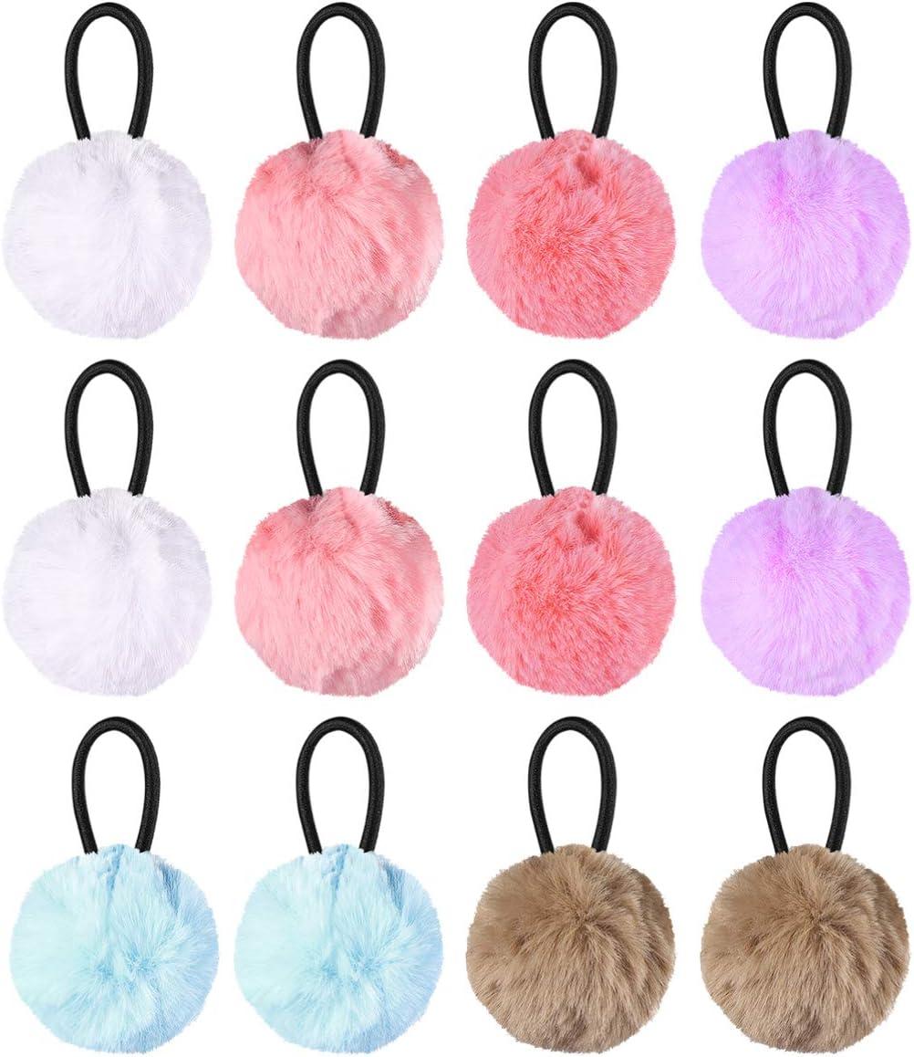 Lurrose 12 piezas elásticas elásticas para el cabello con bolas esponjosas lindas cintas para el cabello con pompones accesorios para el cabello con forma de cola de caballo para niños mujeres