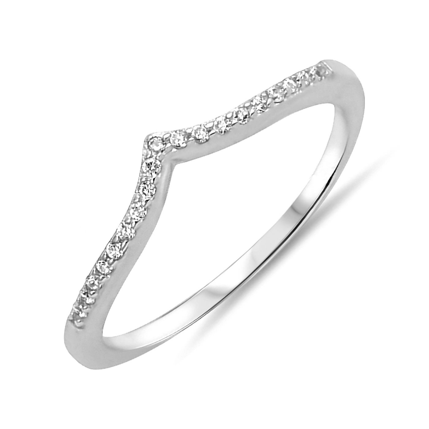 Womens Fashion V Shape Midi Stackable Stacking Trendy Chevron Sterling Silver CZ Ring Size 10