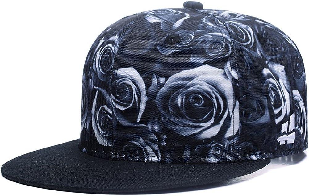 Quanhaigou Premium Floral Flower Hawaiian Cotton Adjustable Snapback Hats Men's Women's Hip-Hop Flat Bill Baseball Caps