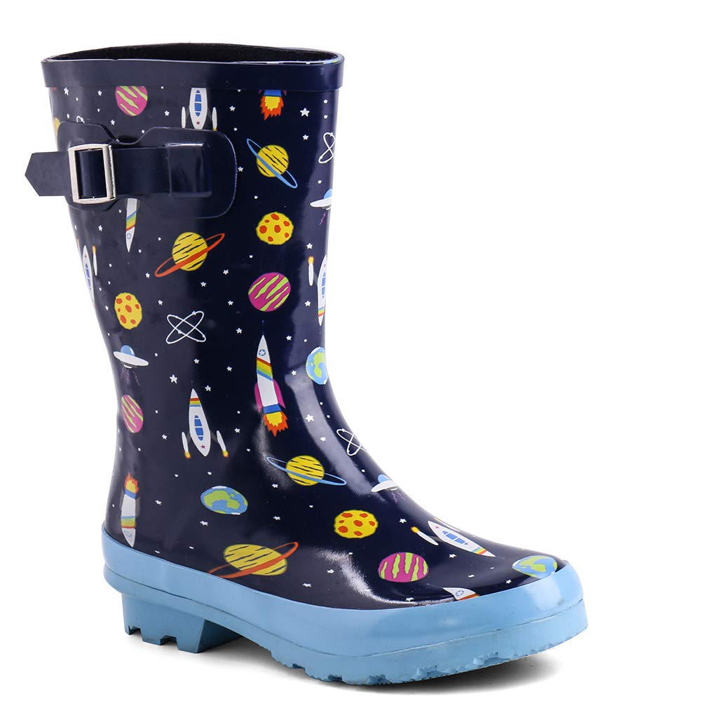 Zefani Kids Waterproof Rubber Rain Boots for Girls, Boys & Little/Big Kids with Fun Prints & Buckle