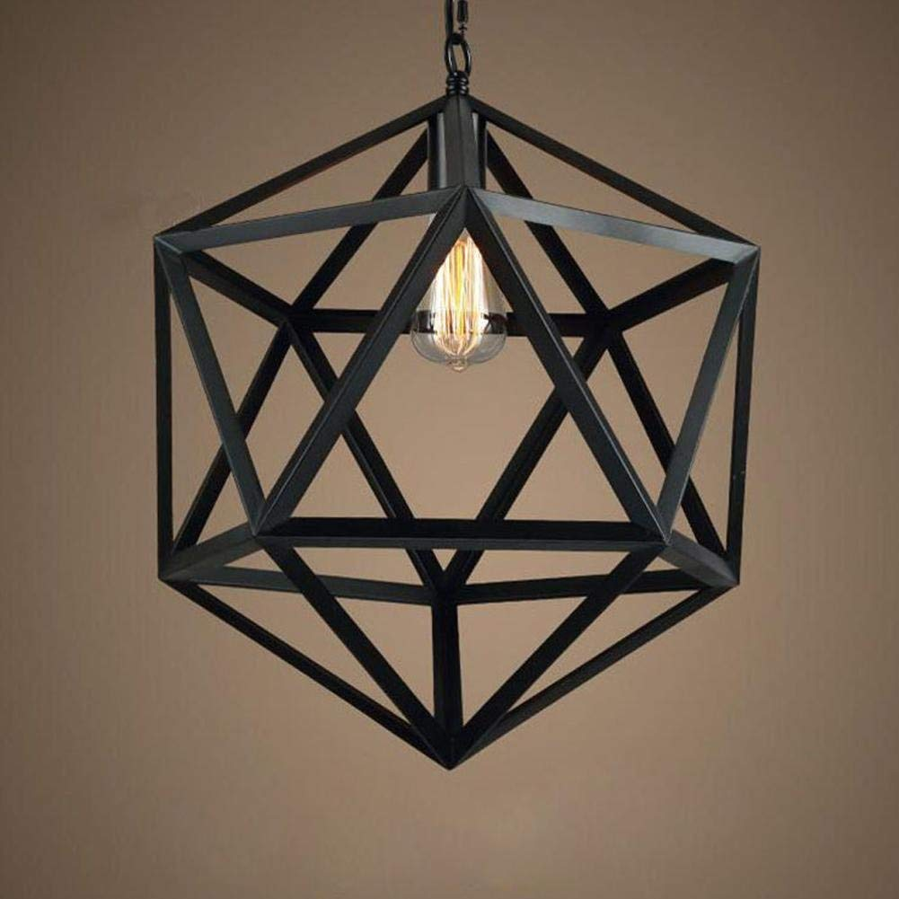 JZMB Pendelleuchte Vintage Edison Eisen Retro Six Face Rhombus Kronleuchter Lampenschirm Loft Kreative Persönlichkeit Metall Deckenbeleuchtung hängen Licht Mit E27 Lampenfassung Höhe Einstellbar