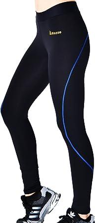 ROSSO Mallas largas para Mujeres repunte Azul Leggins Cintura ...