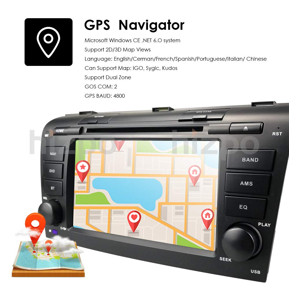 hizpo 7 inch Double Din in Dash HD Touch Screen Car DVD Player GPS  Navigation Stereo for Mazda 3 2004 2005 2006 2007 2008 2009 Support