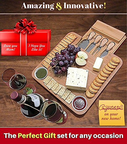 Bamboo Cheese Board w/ Cutlery Set, Wooden Charcuterie Platter, 4 Stainless Steel Knife, 2 Bowl, Wine & Meat Plate w/ Drawer, Fancy gifts for Mom, Dad, Women, Wedding, House Warming, Birthday