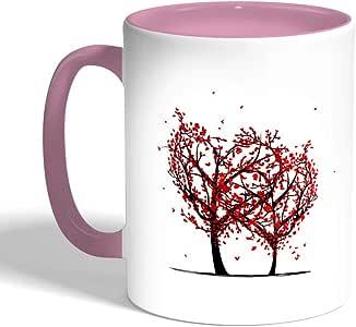 Romantic Printed Coffee Mug, Pink Color