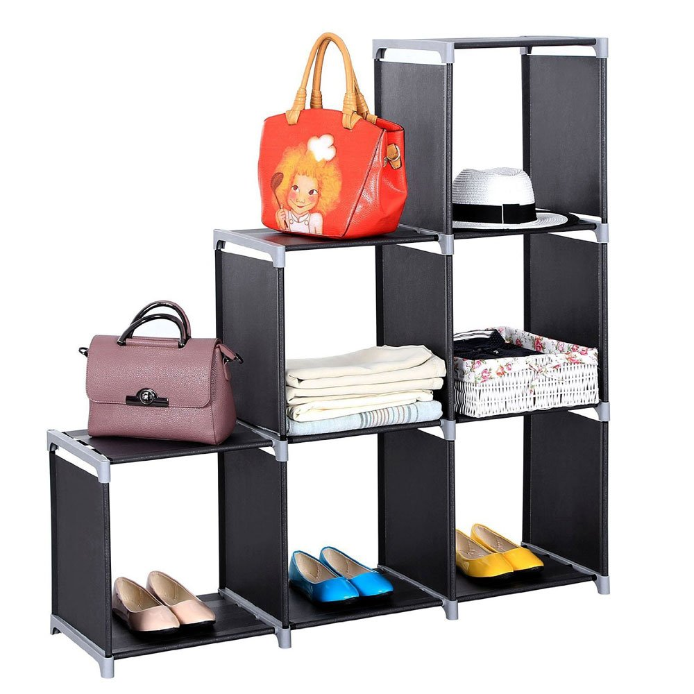 DIY Storage Cabinet Portable Storage Cube Organizer Storage Shelf Cube Room Clothes Storage Cubby Shelving Bookshelf Toy Organizer Cabinet Multifunctional Assembled 3 Tiers 6 Compartments Storage