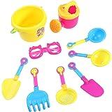 TOYMYTOY 9pcs plage seau Sand Castle jeu jouet ensemble pour les enfants (outils de couleur aléatoire)