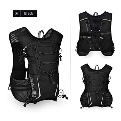 XUSHSHBA Running Backpack Outdoor Reflective Running Vest Hydration Vest Pack Bag Marathon Jogging Hiking Cycling Black