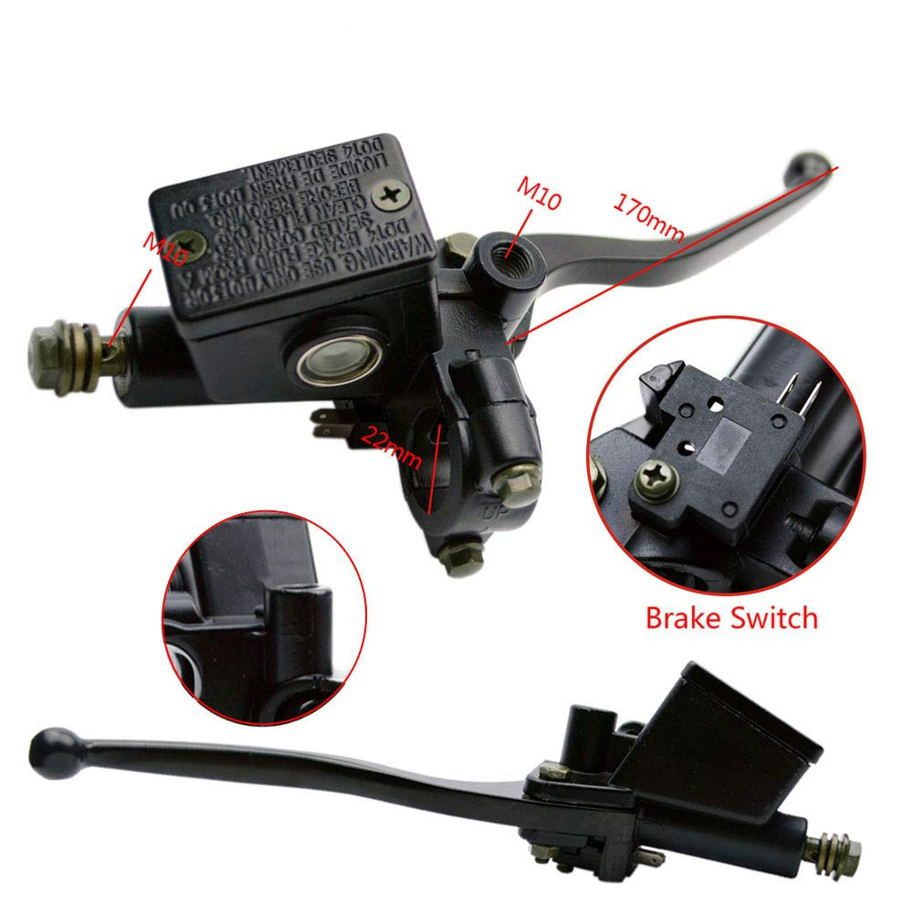 FLYPIG Front Hydrualic Brake Master Cylinder Lever Pump With 8mm Mirror Hole for 50cc 125cc 150cc 250cc Atv Dirt Pit Bike Gy6 Scooter Moped Right Side
