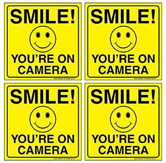Juego de 4) sonrisa estás en cámara Cartel - 6