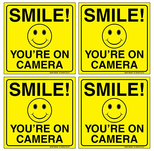((Set of 4) Smile You're On Camera Sign - 6