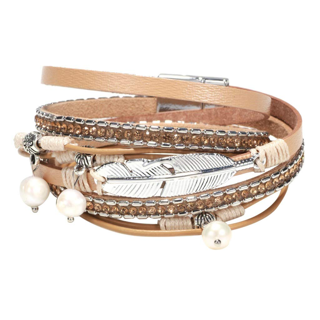 F with Alloy Magnetic Clasp Handmade Jewelry for Women,Girl,Lady Gift Multi-Layer Leather Bracelet with Pearl Beaded Feather Jewelry Bohemian Bangles Braided Wrap Cuff Bangle