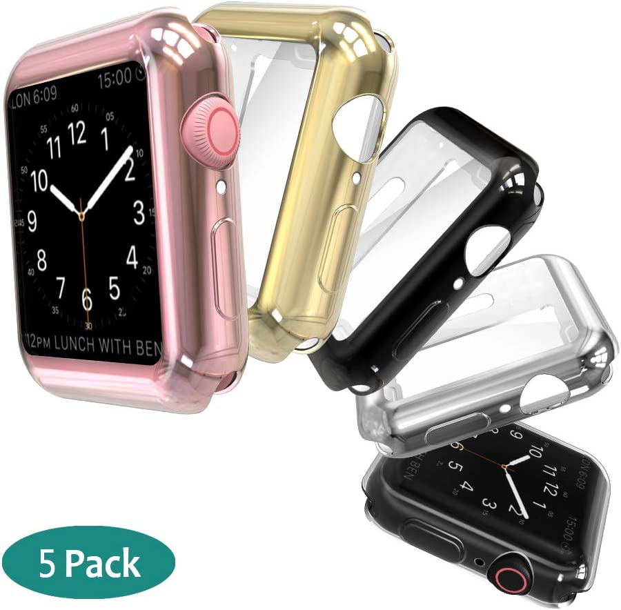 GeeRic Screen Protector Compatible with Apple Watch 44mm Series4/5, Case 5 Pack Soft Slim Full-Around Protective 5 Color-Clear/Black/Silver/Gold/Rose Gold