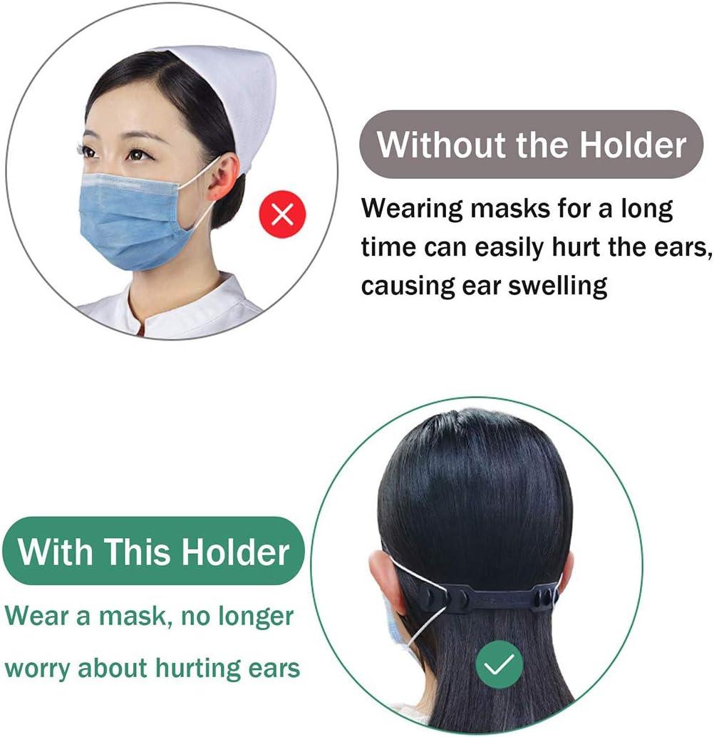 Pink-1 Adjustable Extension Anti-Slip Ear Grips Buckles Extending Face Guard Belt Hook SILUKER 10 Pack Strap Extender for Ear