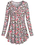 SeSe Code Loose Tunic Tops, Crewneck Long Sleeve Button-up Floral Knit Shirts Flared A-Line Casual Plaid Blouses Red XXL Holiday Wear for Women