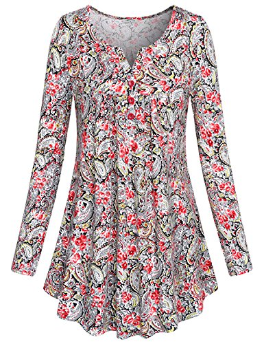 SeSe Code Babydoll Tops for Women Ladies Paisley Floral Mixed Print Maternity Flower Bohemian Loose Fit Love Shirt Trendy Button Detail Notch Neck Flowy Tunic Peasant Blouse Top Red XXXL