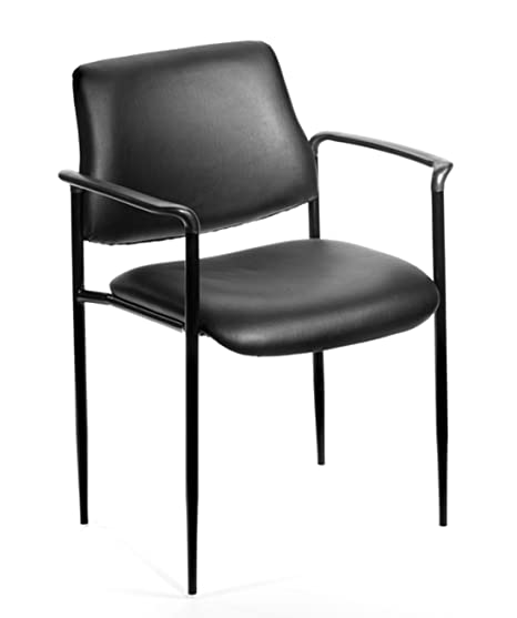Boss Office Products B9503 CS Square Back Caressoft Dimond Stacking Chair  With Arms In Black