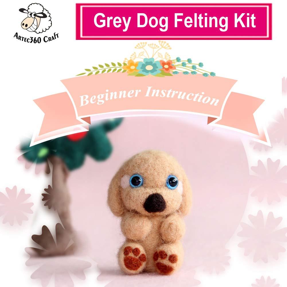 Artec360 Dog Needle Felting Kits Merino Wool Roving - Needles, Finger Guards, Foam Mat, Instructions Gift Wrap (F) ARTANM001