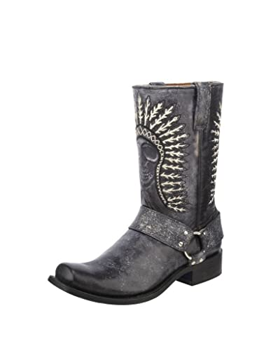 3c5e4de7e03 CORRAL Men's Shaded Skull Harness Cowboy Boot Square Toe - A3097