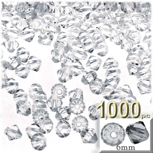 The Crafts Outlet, 1,000-pc Acrylic Bicone Beads, Faceted, 6mm, Clear