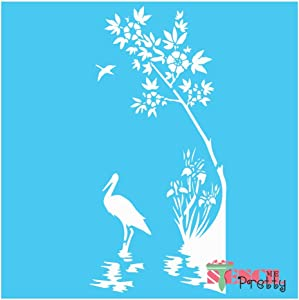 Stencil - Rustic Pelican & Riverside Plants Flowers & Birds Template Best Vinyl Large Stencils for Painting on Wood, Canvas, Wall, etc.-XL (11