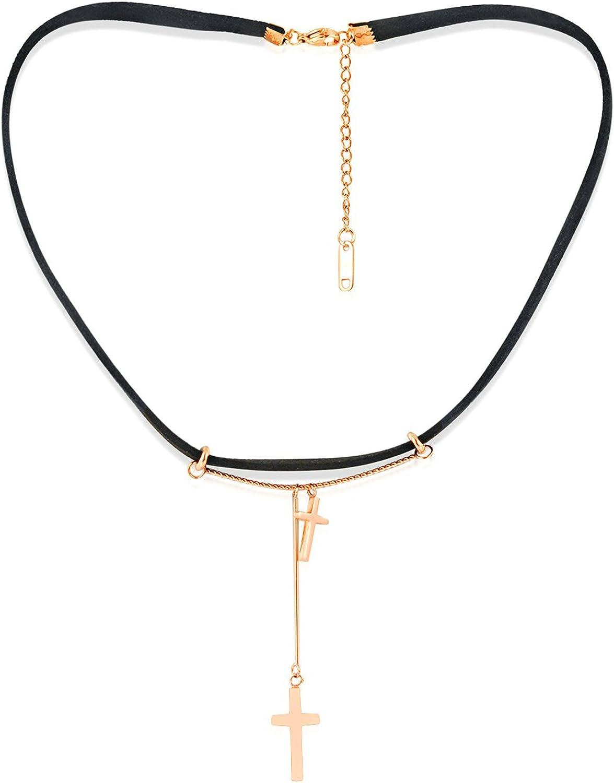 Aeici Negro Oro Rosa Collar para Mujer Cuero Diseño Unico Flannelette Doble Cruzar Longitud: 37+5Cm
