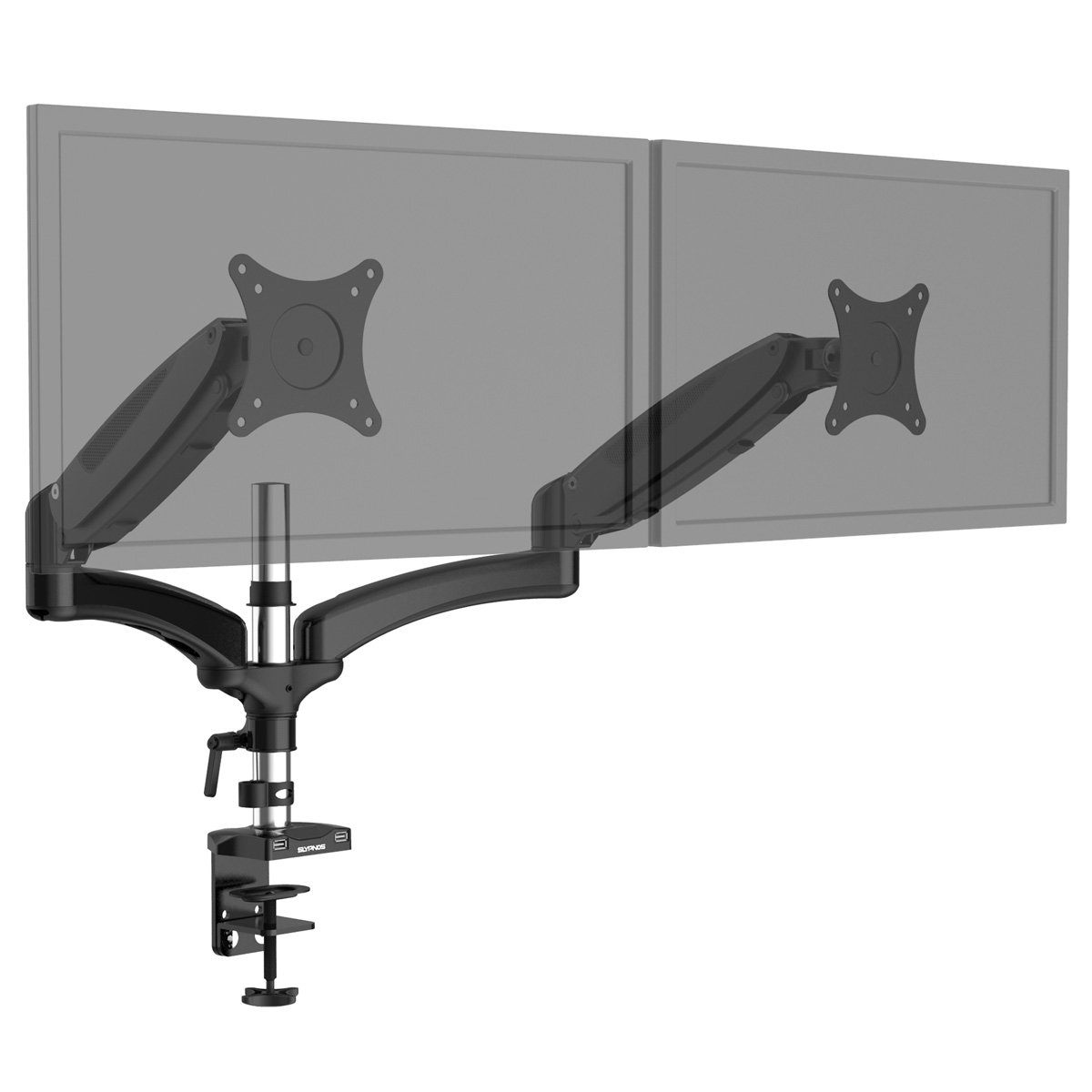 SLYPNOS Triple Monitor Desk Mount Arm/Stand, Height Adjustable Gas Spring Arms, Fits from 15 Inch to 27 Inch Screens