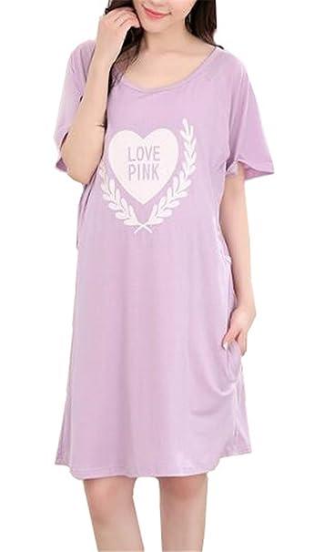 Tayaho Camisón Lactancia para Mujer Pijama Premamá Maternidad Manga Corta Camisones En Capas Nightdress Oversize Ocasionales