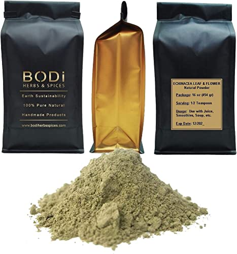 BODi ECHINACEA PURPUREA Leaf Flower – 100 Pure Natural Powder 4 8 16 32 oz Superfood Immune Boost Breathing Homeostasis 8 oz
