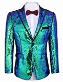 Mens Shiny Sequined Suit Jacket One Button Slim Fit Teuxdo Blazer Party Prom Wedding