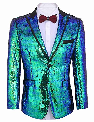 (COOFANDY Shiny Sequins Suit Jacket Blazer One Button Tuxedo for)