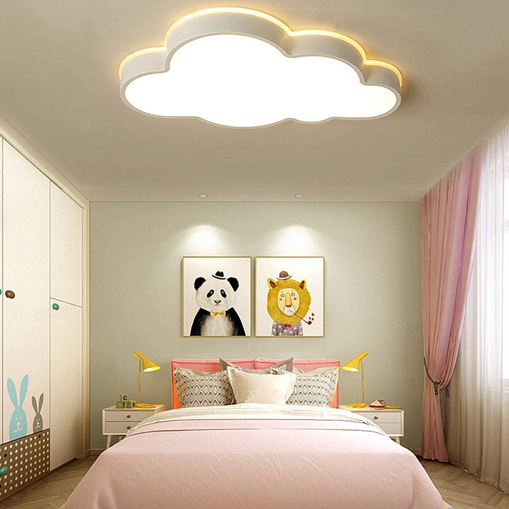 LAKIQ Modern Creative Acrylic LED Lights Cloud Shape Children Room Ceiling  Light Flush Mount Ceiling Chandelier Lighting Fixture for Kids Bedroom