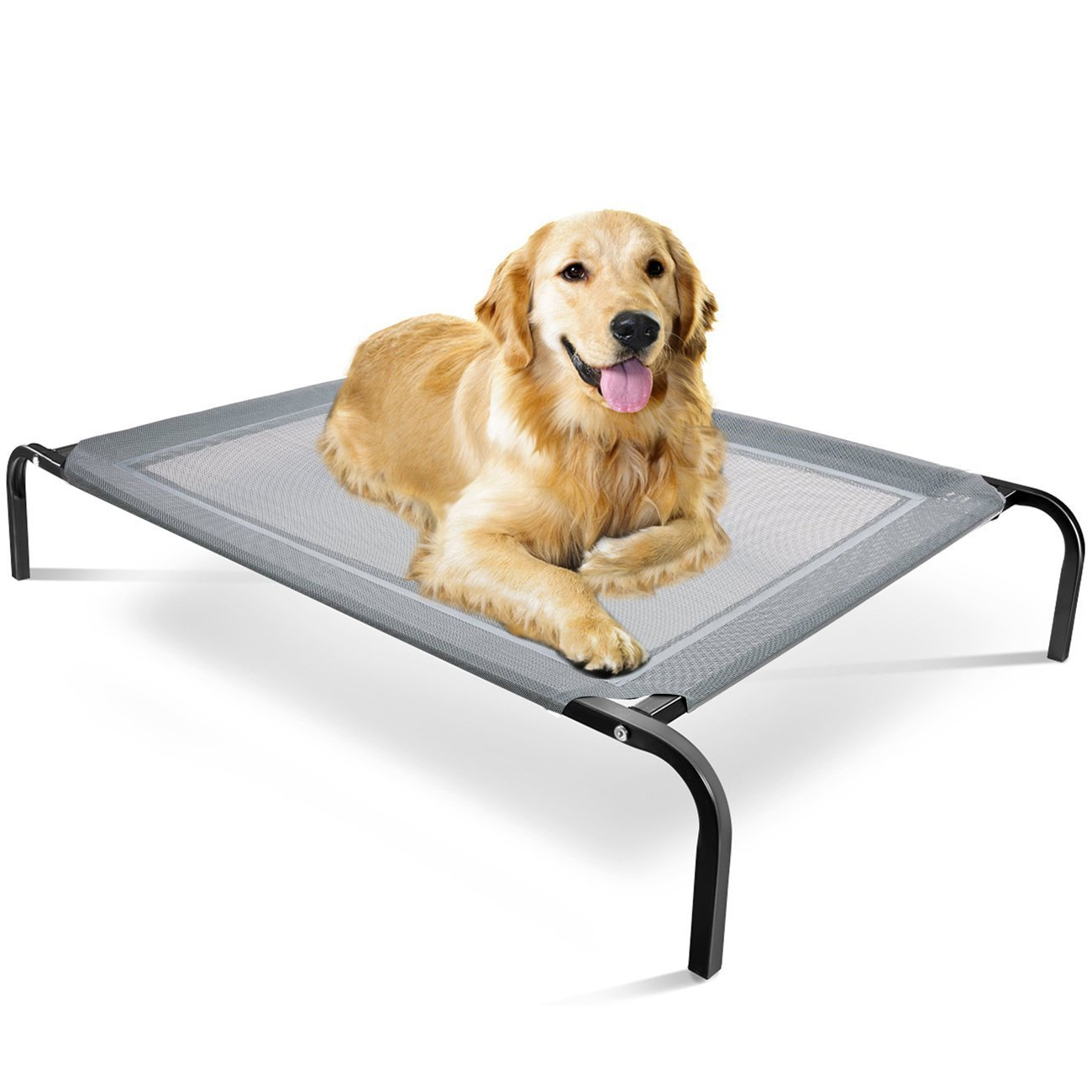 Paws & Pals ''Travel Gear Approved'' Steel-Framed Portable Elevated Pet Bed Cat/Dog, 43.5'' by 29.5'', Black