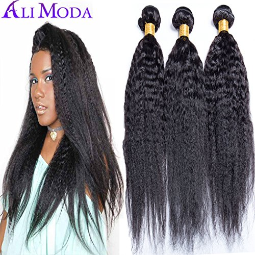 Ali Moda 8A Brazilian Yaki Kinky Straight 3 Bundles With 4x4 Free Part Lace Closure 100% Unprocessed Human Virgin Hair Extensions Natural Color (16 18 20 with 14)