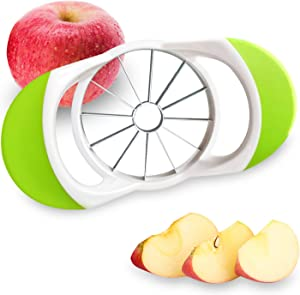 Apple Cutter, LILIANDA Stainless Steel Apple Slicer with Larger & Comfortable Handle, Apple Corer and Slicer with 12 Sharp Blades, Fruits Slicer for Apple, Pears and More, Green