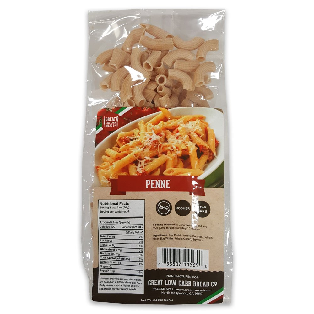 Low Carb Pasta, Great Low Carb Bread Company, 8 oz. (Penne)
