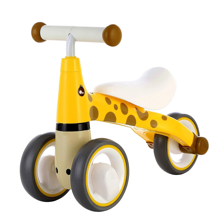 GXFLO Baby Balance Bici Bicicletta Bambini Walker   12-24-36 Mesi Senza Pedale Bambino Tre Ruote Triciclo Prima Moto,giallo