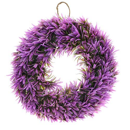 - Saim Plastic Plant Floral Front Door Wreath 17.7-Inch Diameter Hanging Wall Window Decoration Seasonal Home Garden Decor