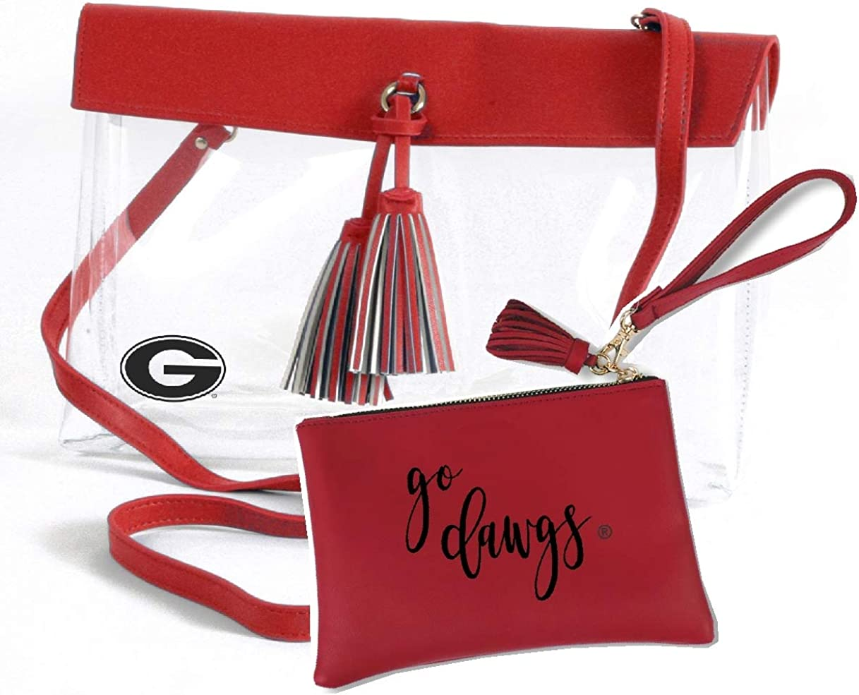 Stadium Approved. Desden Georgia Bulldogs Vegan Wristlet with Strap and Tassel